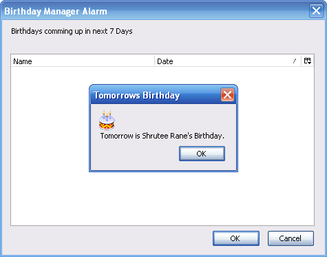 birthday manager alarm